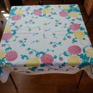 Vintage Cotton Floral Square Tablecloth, Mums